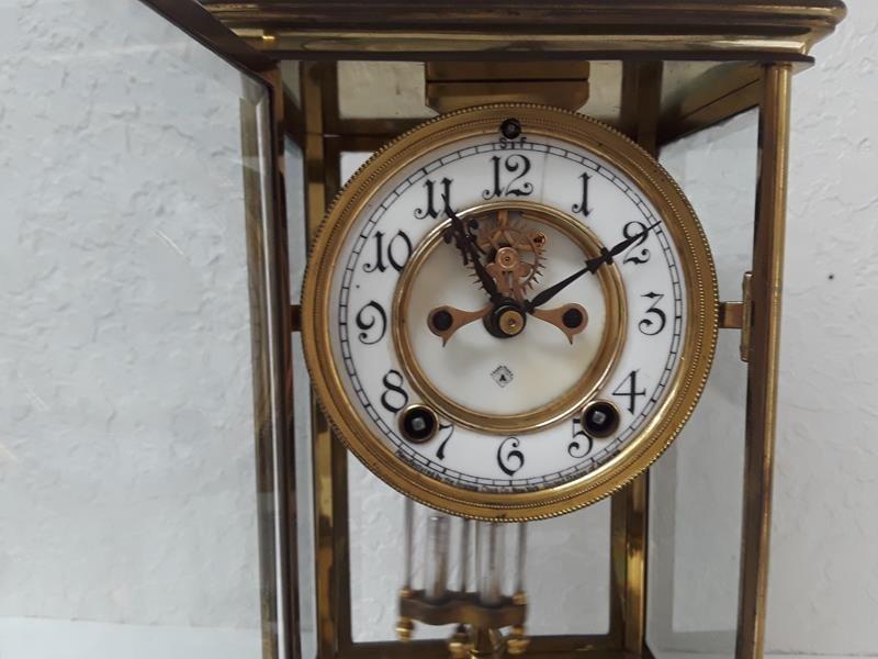 Ansonia USA Crystal Regulator Clock Working Open Escape - 8