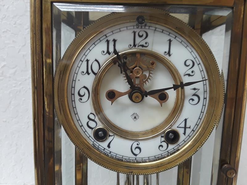 Ansonia USA Crystal Regulator Clock Working Open Escape - 9