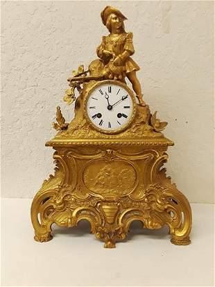 Bronze Mantle Clock Miroy Freres Running Cavalier