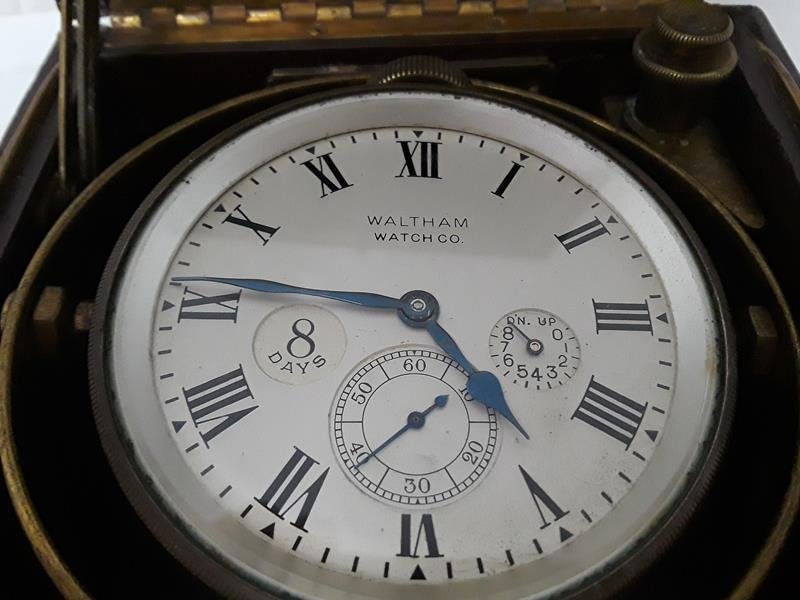 Waltham Ship Clock 8 Day UpDown Indicator in Box - 9