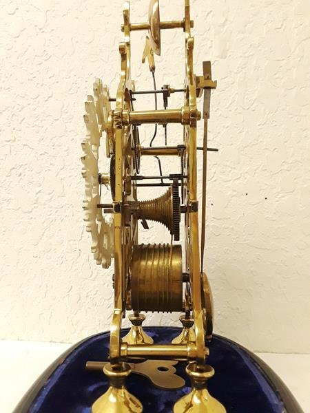 Skeleton Mantle Clock Running with Oval Glass Dome - 3