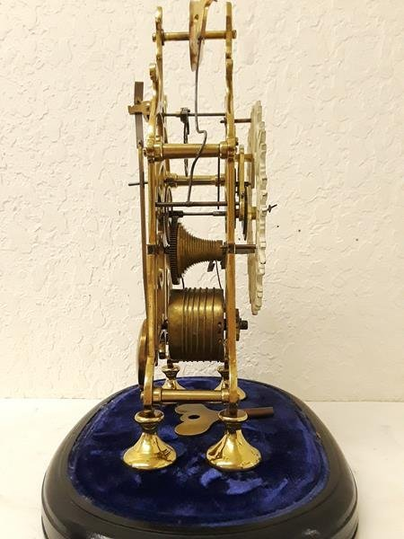 Skeleton Mantle Clock Running with Oval Glass Dome - 6