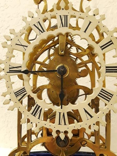 Skeleton Mantle Clock Running with Oval Glass Dome - 8