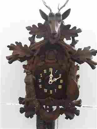 Antique German Cuckoo Clock Black Forest Hand Carved