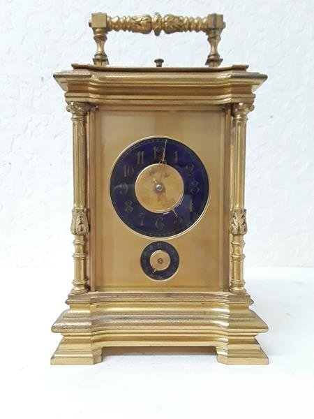French Carriage Repeater Clock Blue Porcelain Dial