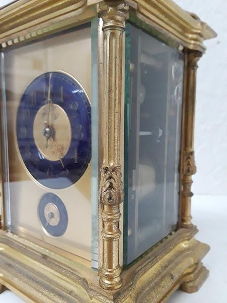 French Carriage Repeater Clock Blue Porcelain Dial - 5