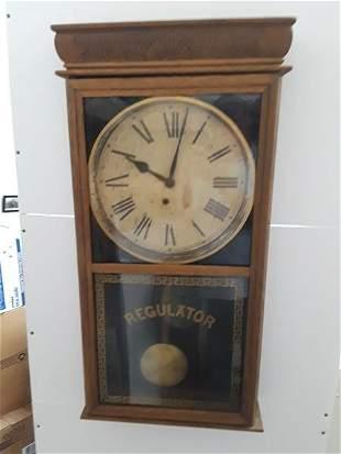 Huge Regulator Ingraham Wall Clock Railroad Style Worki