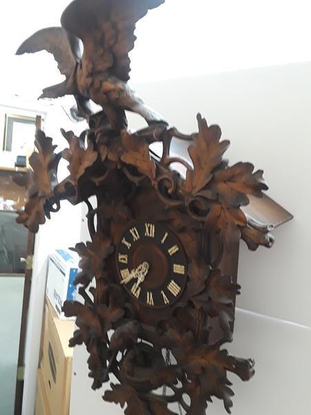 Antique German Black Forest Antique Cuckoo Clock Wood - 2