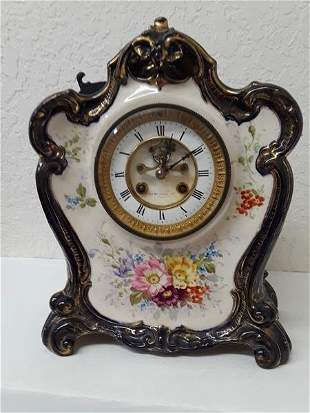 Antique Royal Bonn La Don China Mantel Clock Paris