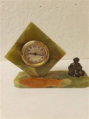 Kaiser Mantle Desk Clock Agate German Movt Soothsayer