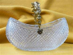 Antique Crystal Basket Repousse Centerpiece Gilt Handle