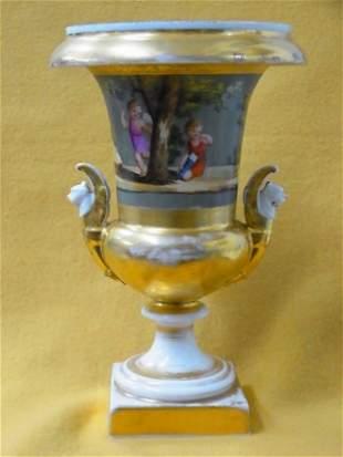 Paris or Meissen Porcelain Cupid Children Gilt Vase