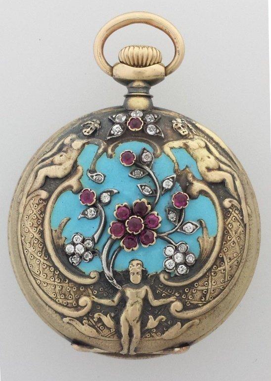 Antique Tiffany 18k Gold Repousse Diamond Ruby Blue Ena
