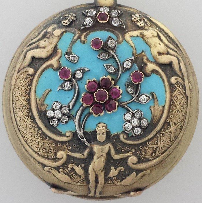 Antique Tiffany 18k Gold Repousse Diamond Ruby Blue Ena - 5