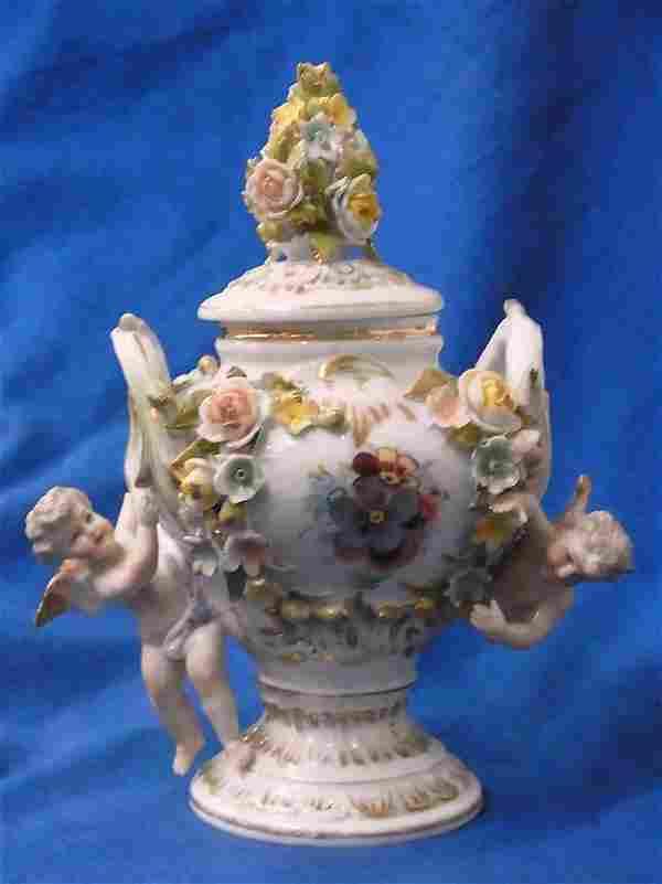 Meissen Type Porcelain Cherub Antique Covered Jar Gilt