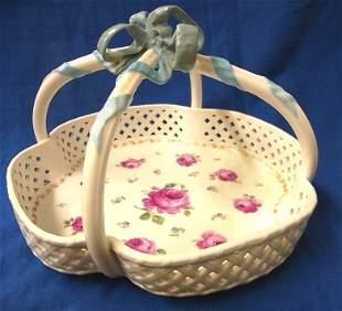 German KPM Large Porcelain Lattice Antique Basket
