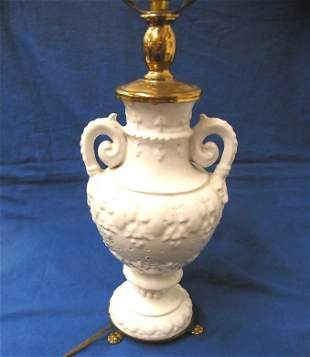 Vintage Stoneware Urn White Lamp Shabby Chic