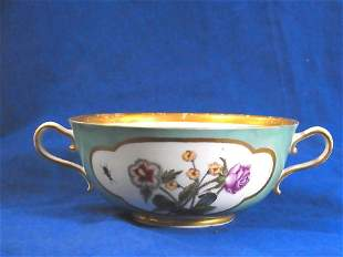 Early Meissen Porcelain Insects Serving Cup Soup Bowl