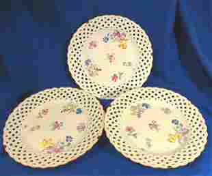 Lot of 3 Antique Meissen Lattice Edge Porcelain Plates