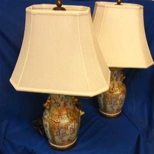 Antique Chinese Qing Rose Medallion Gilt Lg Pair Lamps