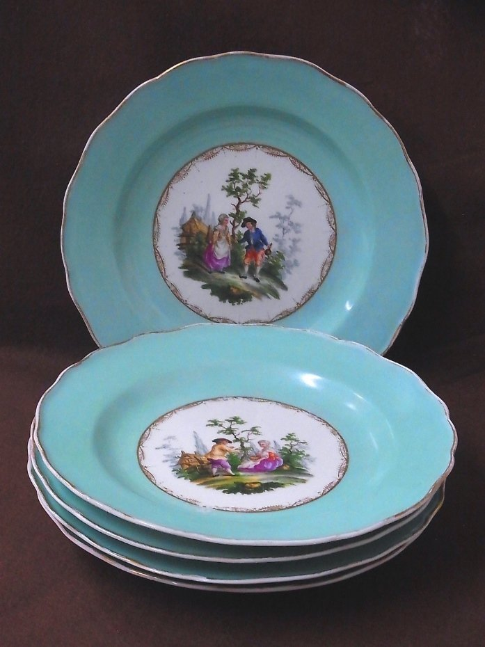 Early Meissen Set of 5 Porcelain Scenic Blue Plates