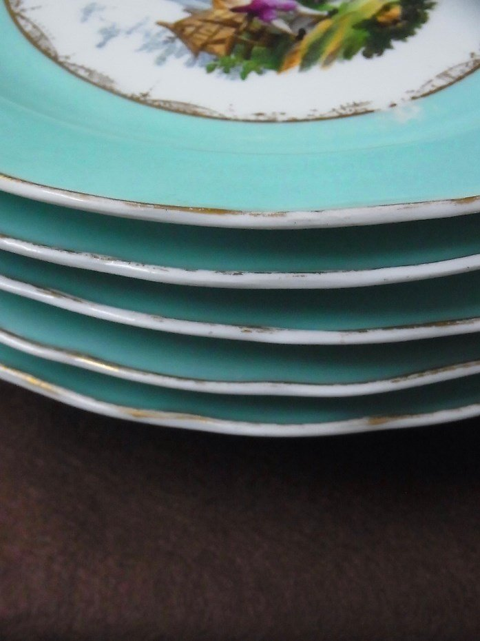 Early Meissen Set of 5 Porcelain Scenic Blue Plates - 2