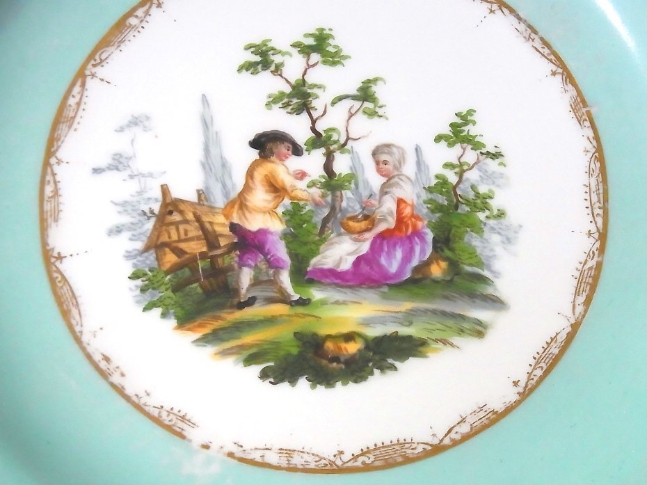 Early Meissen Set of 5 Porcelain Scenic Blue Plates - 4