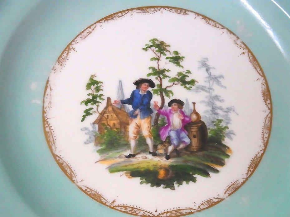 Early Meissen Set of 5 Porcelain Scenic Blue Plates - 5