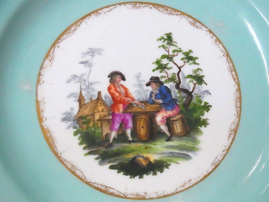 Early Meissen Set of 5 Porcelain Scenic Blue Plates - 6