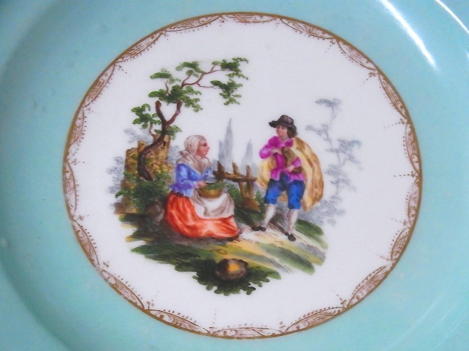 Early Meissen Set of 5 Porcelain Scenic Blue Plates - 7