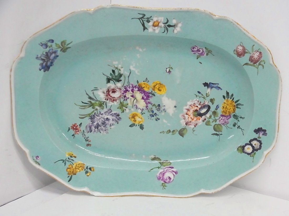 Early Meissen Hand Painted Large Floral Serving Platter