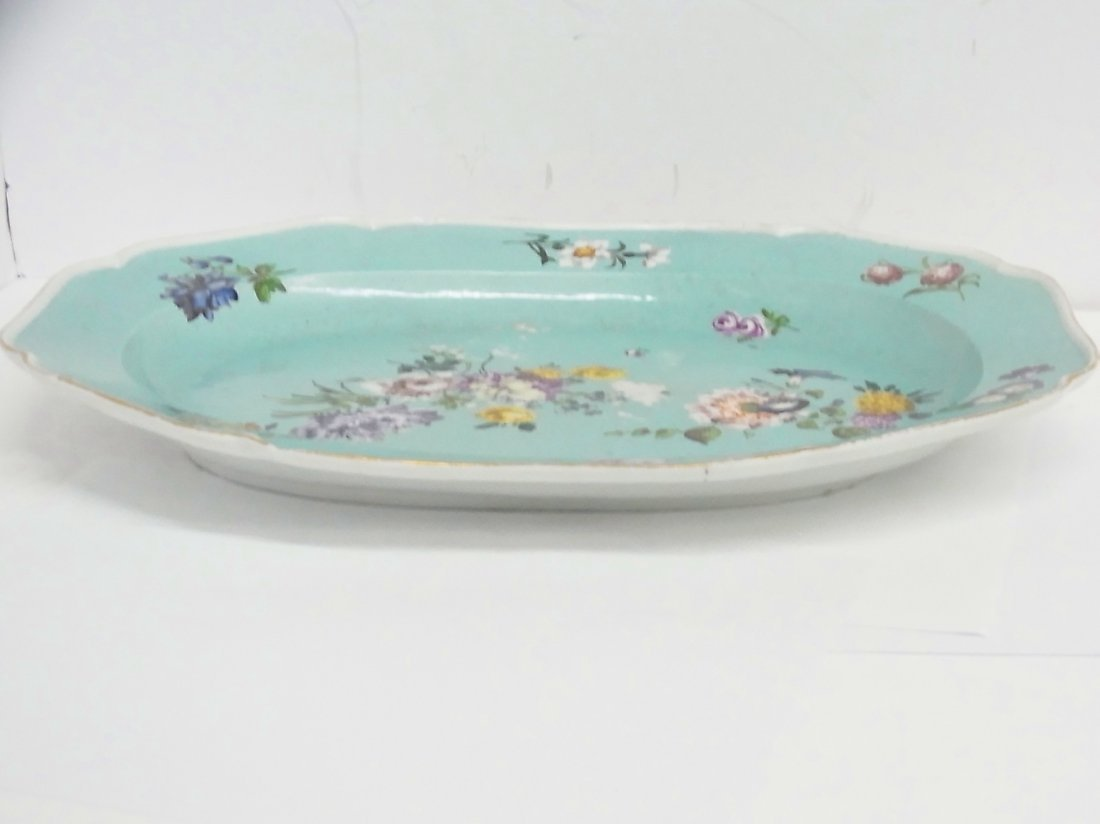 Early Meissen Hand Painted Large Floral Serving Platter - 3