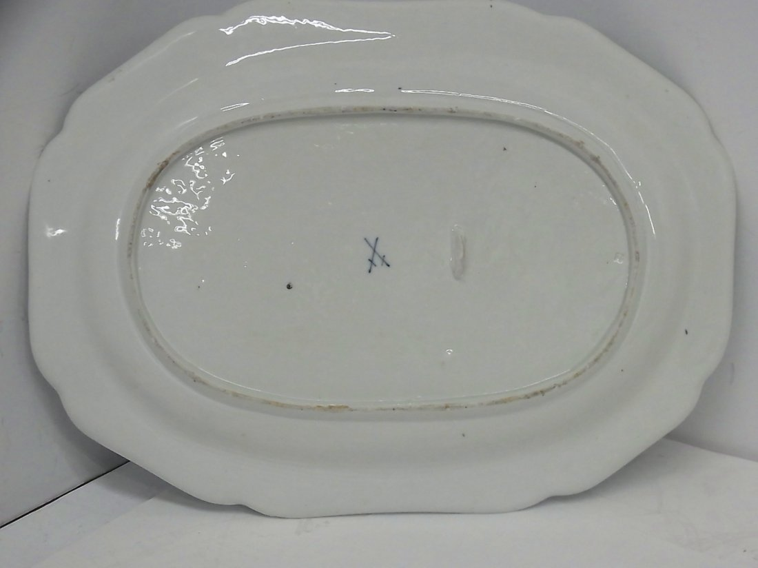 Early Meissen Hand Painted Large Floral Serving Platter - 5