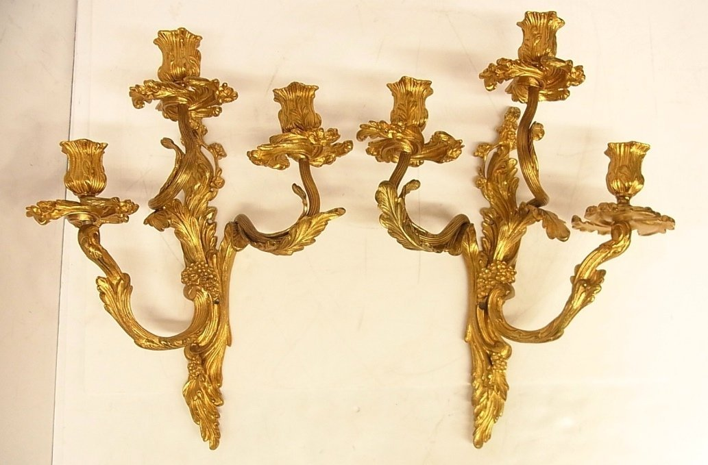 Vintage Large Pair Wall Candle Candelabra Gilt Sconces