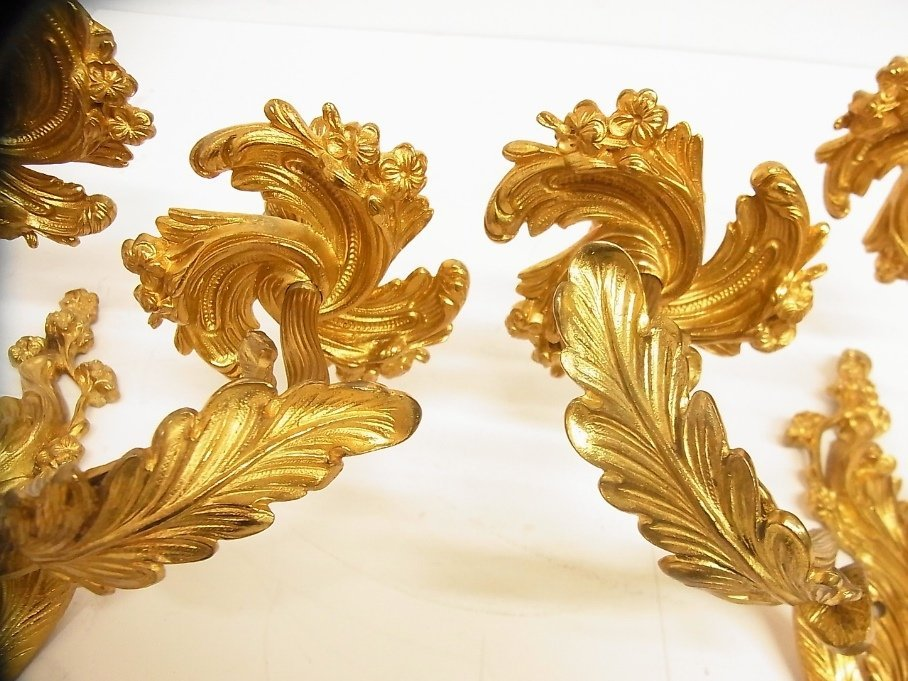 Vintage Large Pair Wall Candle Candelabra Gilt Sconces - 4