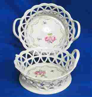 Antique Pair German or French Pottery Porcelain Baskets