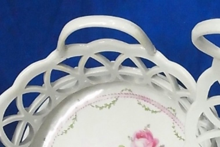 Antique Pair German or French Pottery Porcelain Baskets - 5
