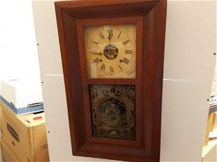 Antique Wall Clock Wood Case Reverse Painted Glass Seth