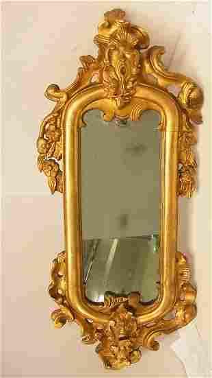 Antique Gilt Masqueron Carved Wood Continental Mirror