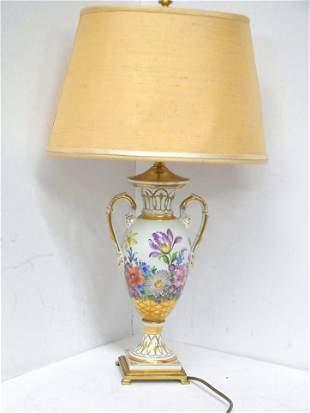 Meissen Continental Porcelain Gilt Antique Lamp