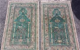 Vintage Pair Silk Persian Carpets Prayer Rugs Animalier