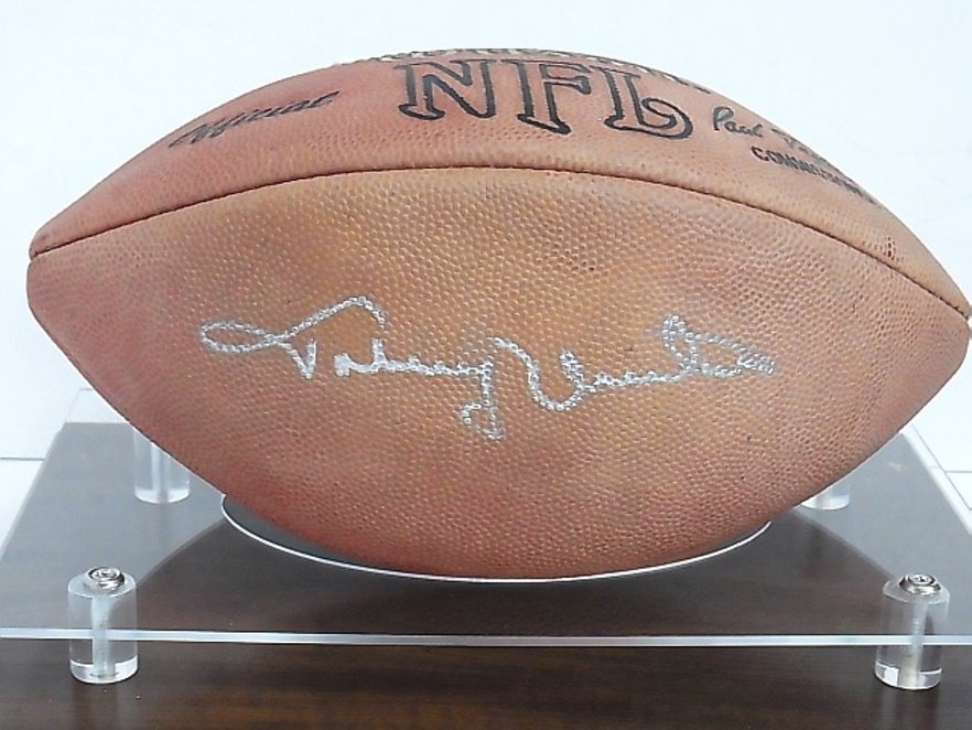 Johnny Unitas Autographed NFL Football Legendary mvp