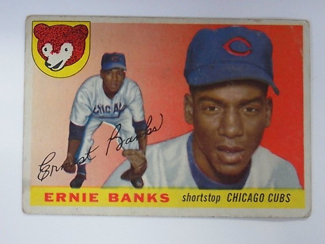 1955 Topps Ernie Banks Chicago Cubs Baseball Card No 28 - 8