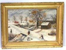Antique American Folk Art Winter Landscape Painting