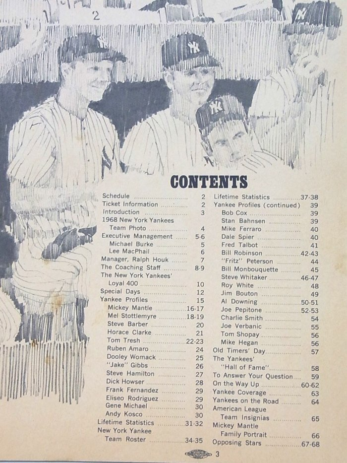 NY Yankees 1968 Yearbook Mantle Last Year Original MINT - 3