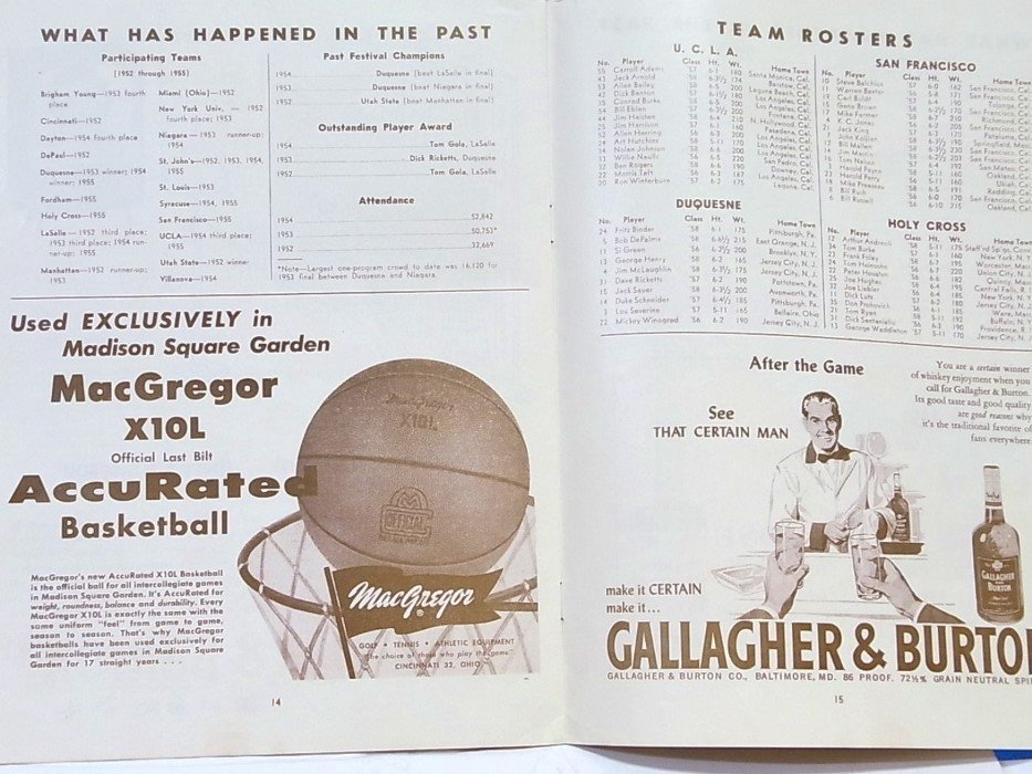 1955 ECAC Basketball MSG College Holiday Program - 6
