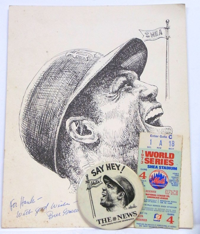 Willie Mays Baseball Pin 1973 World Series Ticket Lot