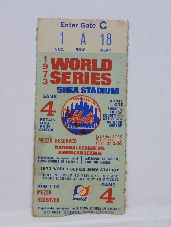 Willie Mays Baseball Pin 1973 World Series Ticket Lot - 2