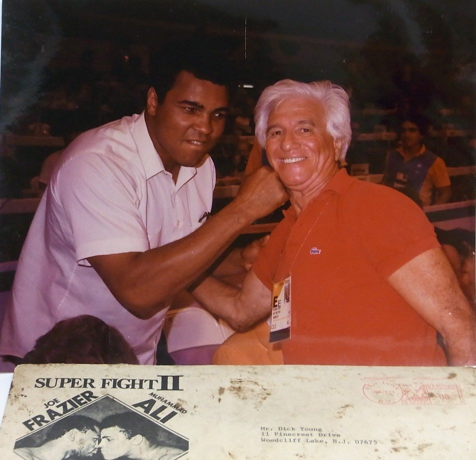 Photo Mohammed Ali Dick Young w Frazier Fight Envelope