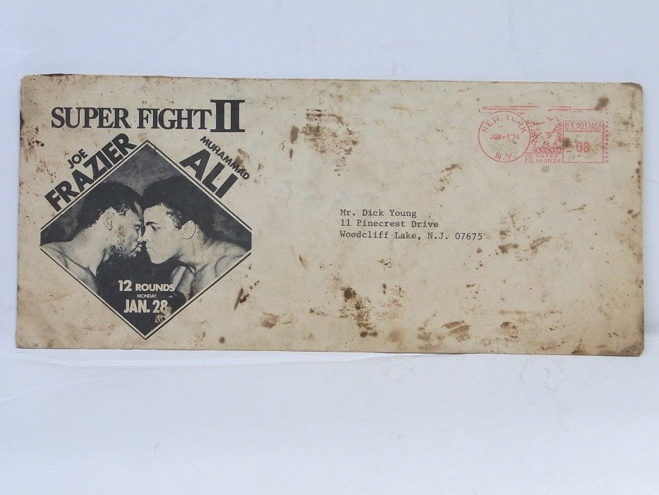 Photo Mohammed Ali Dick Young w Frazier Fight Envelope - 2